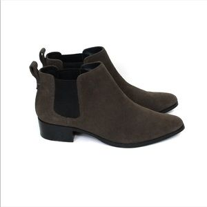 COACH Suffolk Brown Suede Pointed Toe Chelsea Ankle Boots
